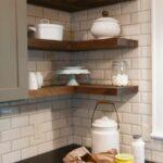furniture walnut reclaimed pine wood floating kitchen shelves above with lights black countertop white corner brick tile backsplash cool ideas iron scroll shelf brackets basket 150x150