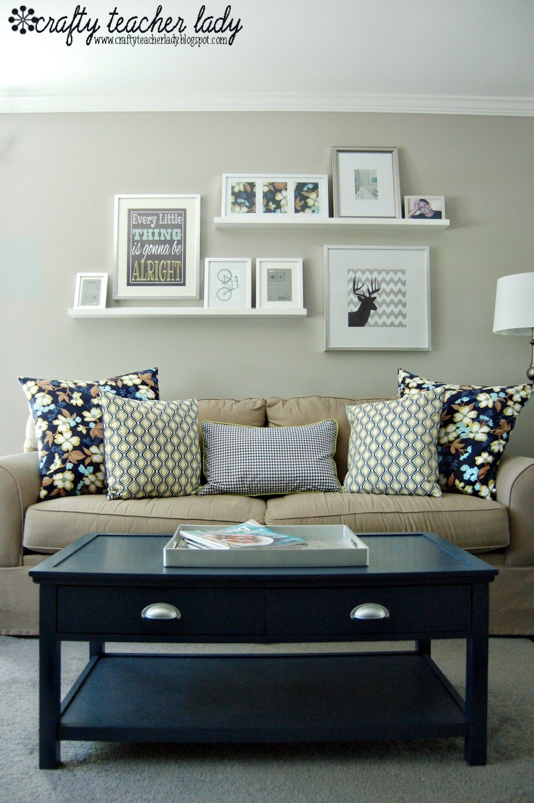 gallery wall above the sofa like floating shelves behind easy way switch out seasonal framed items without having hang them industrial mounted coat rack shelf end supports open