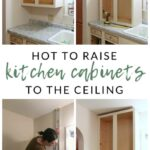 genius diy raising kitchen cabinets and adding open shelf the how raise ceiling floating shelves under see underneath coat rack with storage wooden shoe for wall ikea alex hack 150x150
