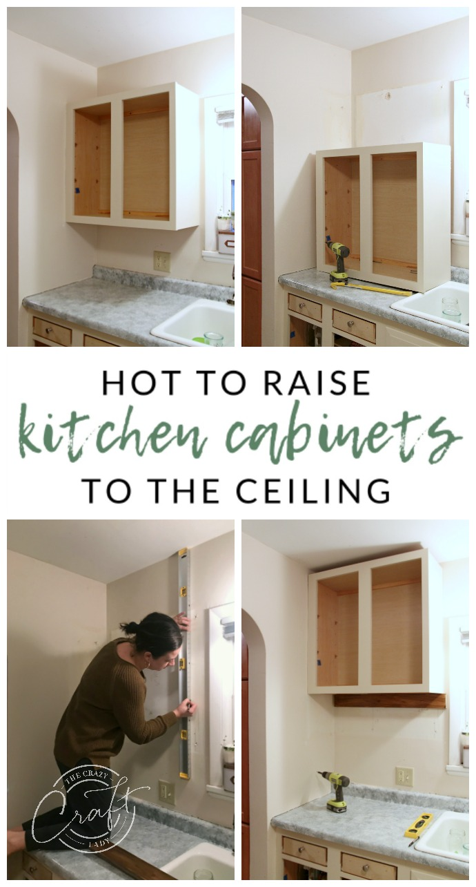 genius diy raising kitchen cabinets and adding open shelf the how raise ceiling floating shelves under see underneath coat rack with storage wooden shoe for wall ikea alex hack