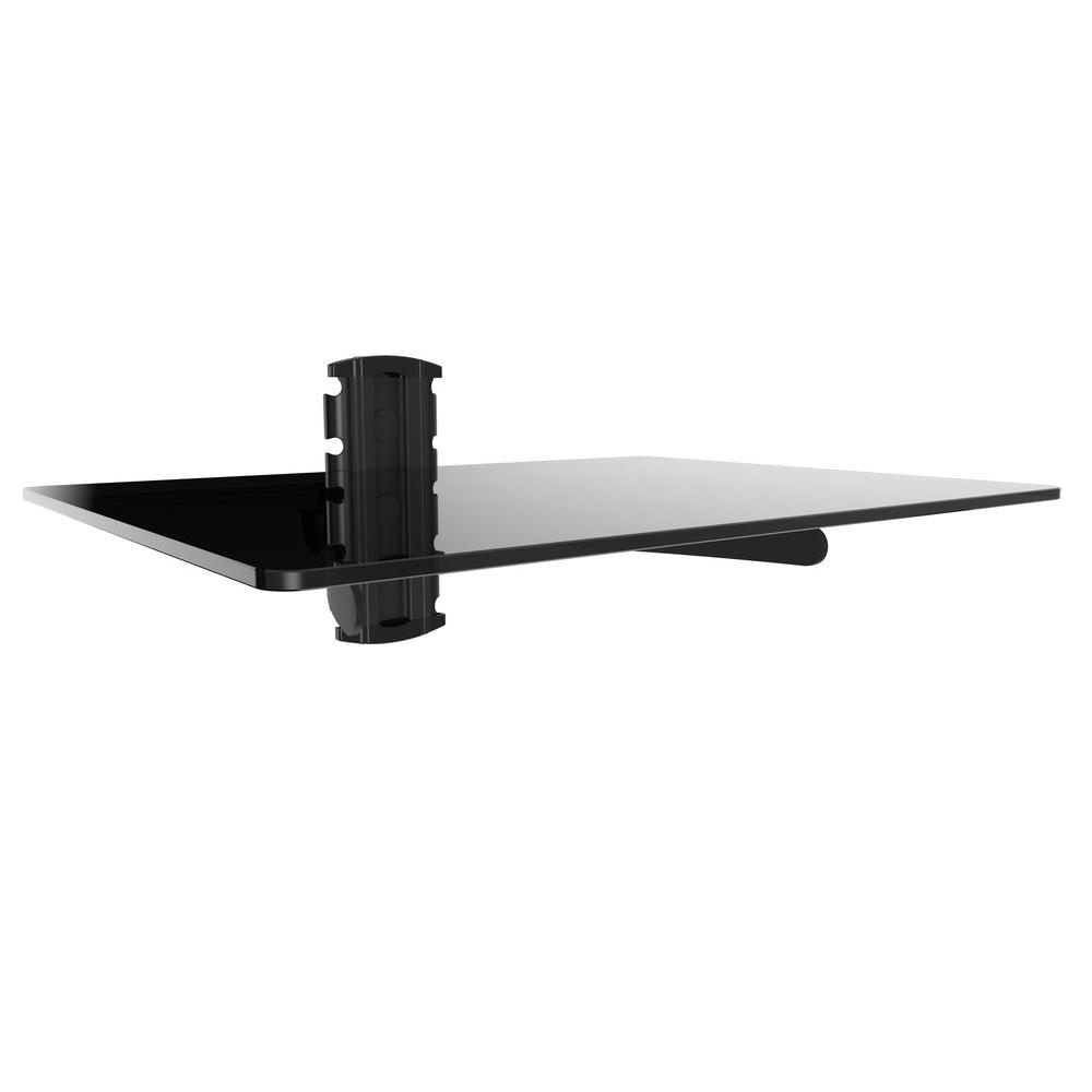 gforce dvd player shelf wall mount with black tempered glass and mounts floating bracket aluminum industrial kitchen island bench extra long hooks small butcher block cart