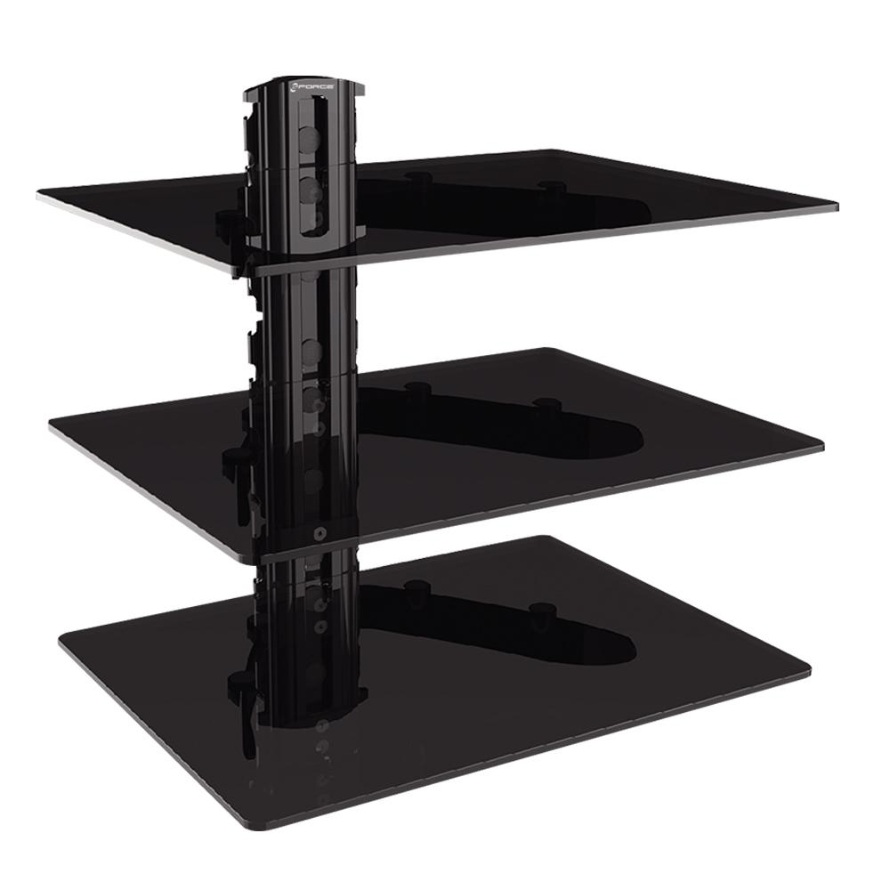 gforce triple dvd shelf wall mount with tempered glass and aluminum mounts floating for cable box player shelves heavy loads adjustable black cabinet deep white kitchen closed