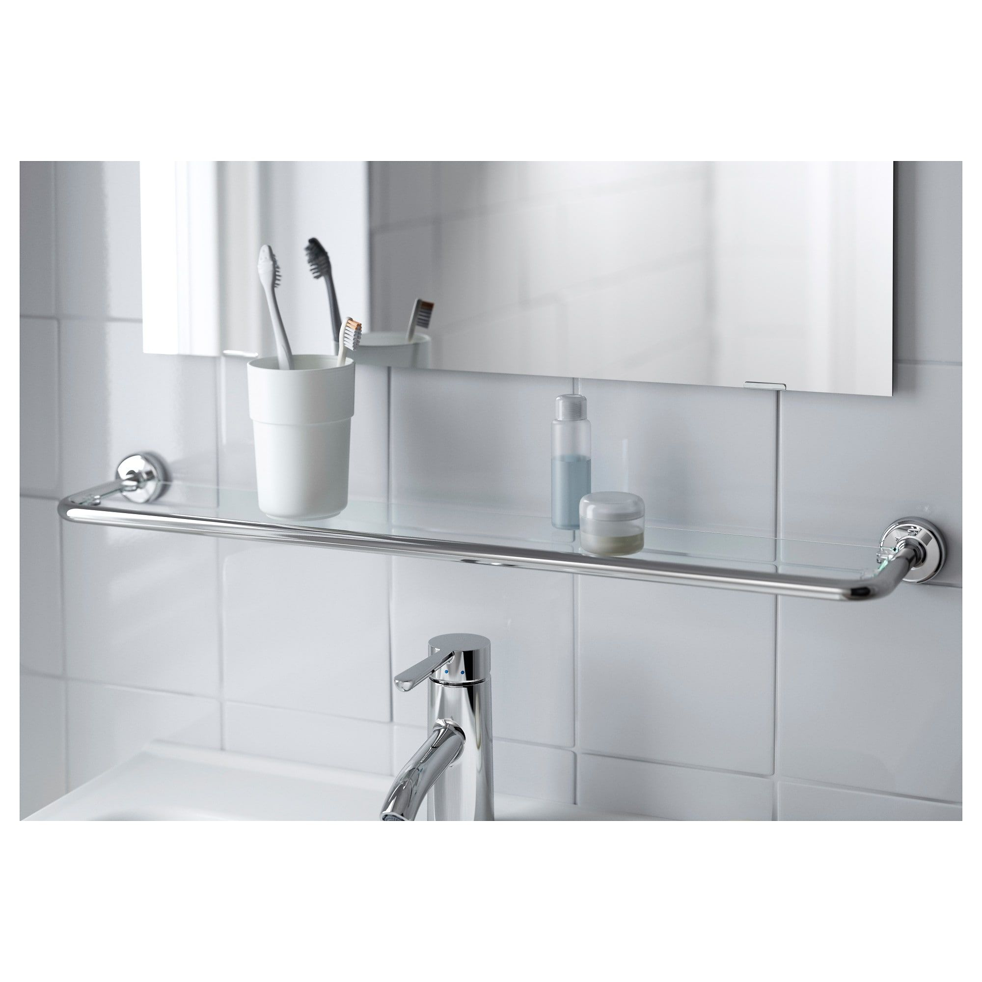 glass shelf voxnan chrome effect ping bathroom floating shelves ikea hallway storage bench concealed cabinet locker command wall victorian brackets coat hooks and baskets desk