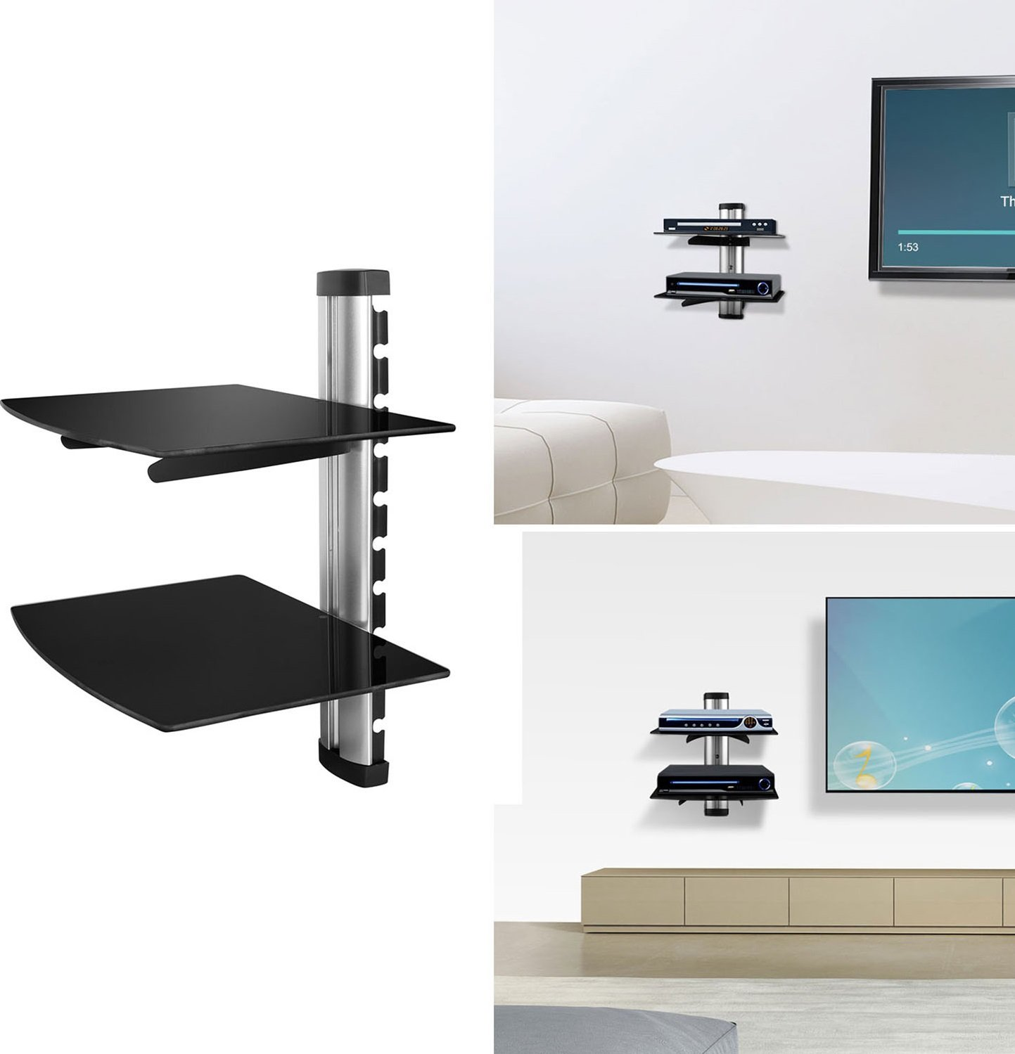 gpct floating wall mount strengthened tempered shelf bracket for dvd double glass component stand player receiver gaming systems xbox one diy suspended shelves mounted corner