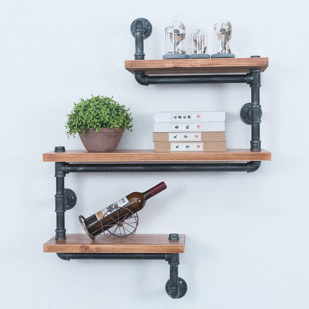 gwh industrial pipe shelves wall mounted rustic floating shelf shelving steampunk metal bookshelf real wood book hanging shower niche off white wooden with hangers inch unit ikea