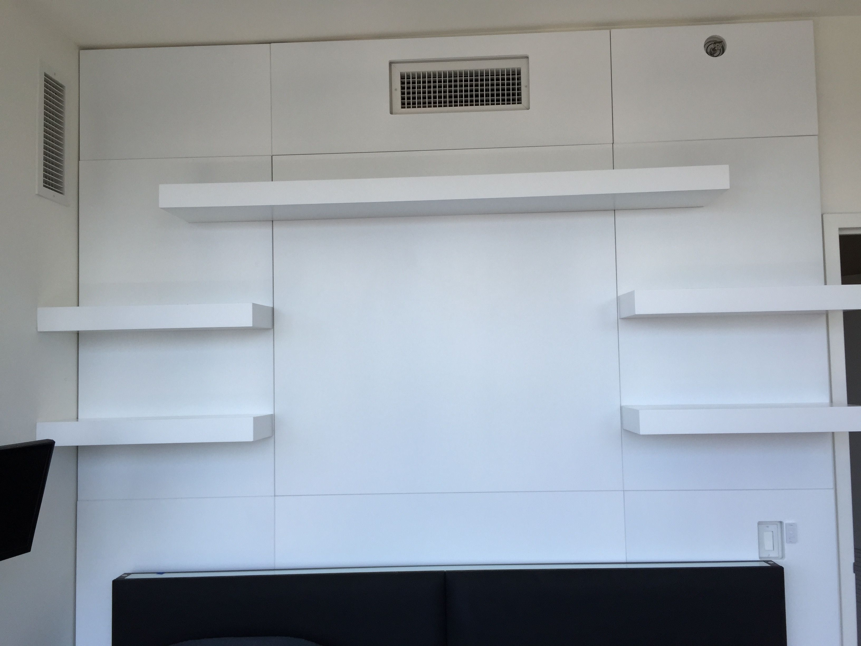 hand crafted wall unit with custom paneling and floating shelves made interesting shelving units open between rooms diy secret shelf small dvd player bookshelf gun case bhs flush