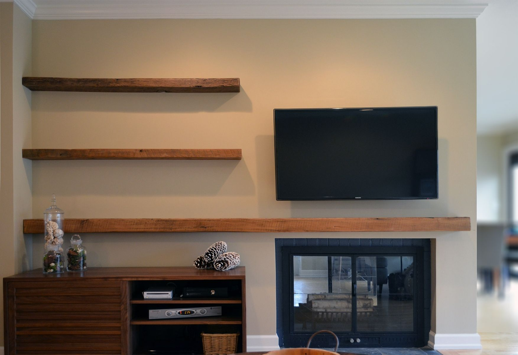 hand made reclaimed lumber floating shelves abodeacious for entertainment system custom oak wood fireplace mantels kitchen shower sizes bunnings storage racks diy shed installing