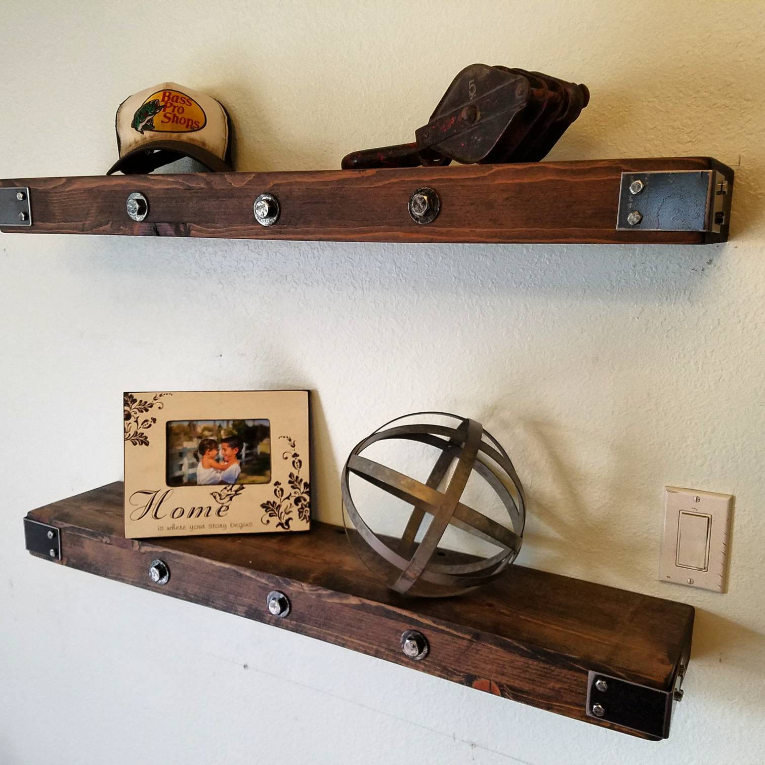 handmade rustic and reclaimed wooden floating shelves wood etsy fullxfull corner shelf adjustable garage shelving bathroom open unit large brackets entryway coat rack ribba ture