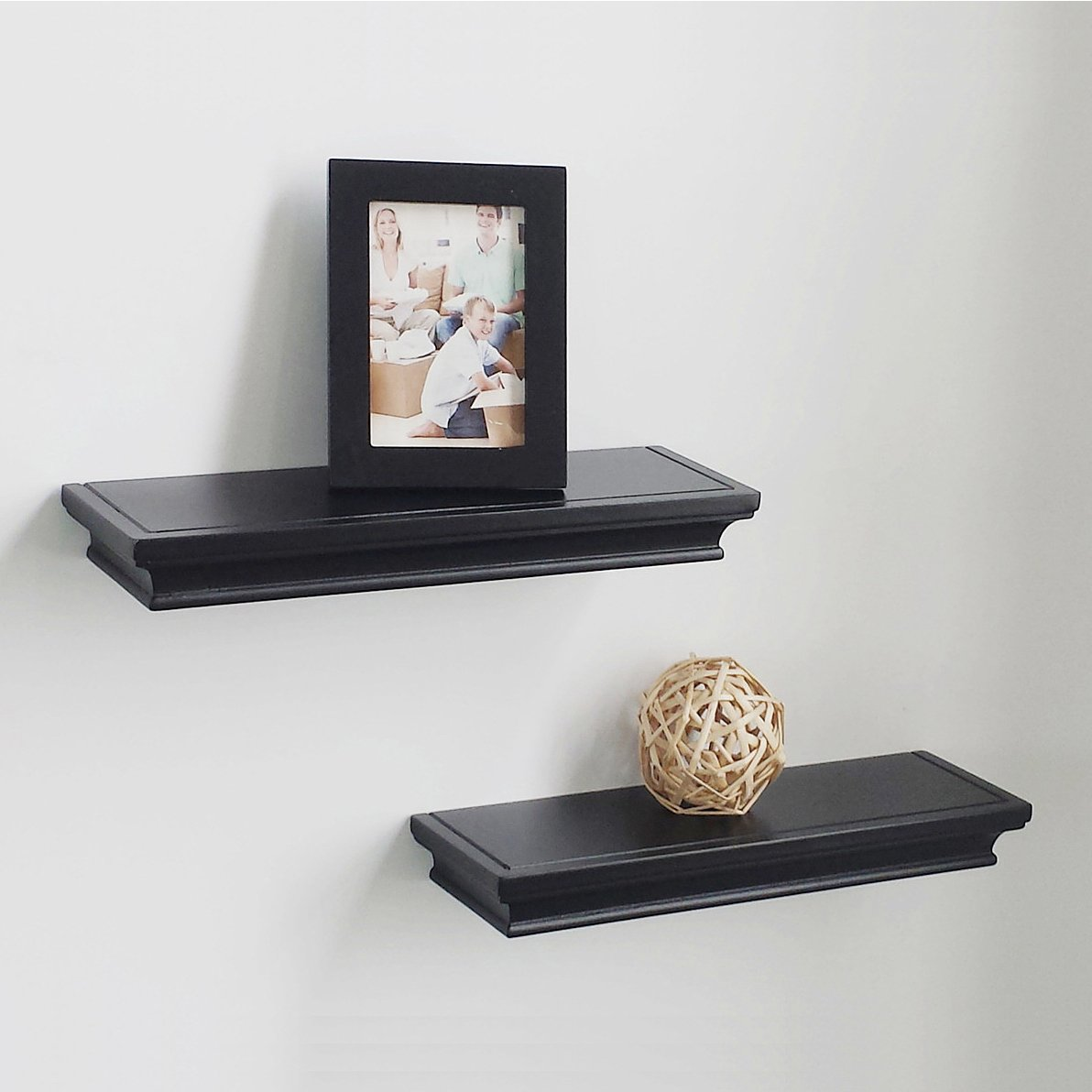hao set approx depth floating wall shelf wooden black wood shelves ledge household storage shelving home kitchen white mantel television table stand single glass mount steel rod