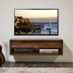 hardwood floating stand design varnished finish come with large led television wall mounted together white paint well wooden flooring glass media shelves steel shelving system bar 150x150