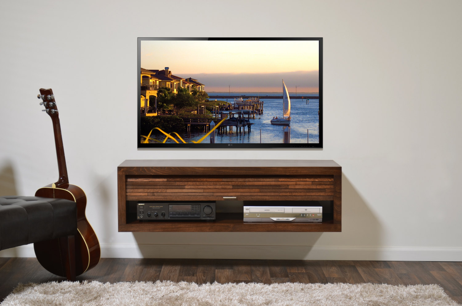hardwood floating stand design varnished finish come with large led television wall mounted together white paint well wooden flooring glass media shelves steel shelving system bar