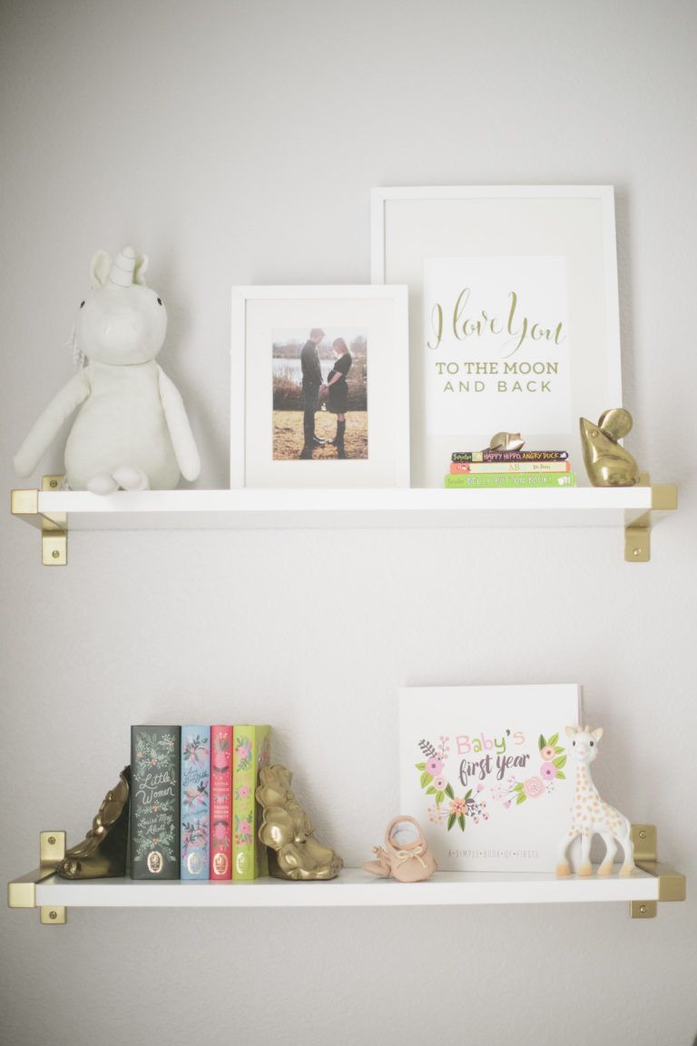 harper floral whimsy nursery shelving ideas floating bookshelves shelfie using ikea wall shelves spray paint the brackets metallic gold for modern clean look coloured glass
