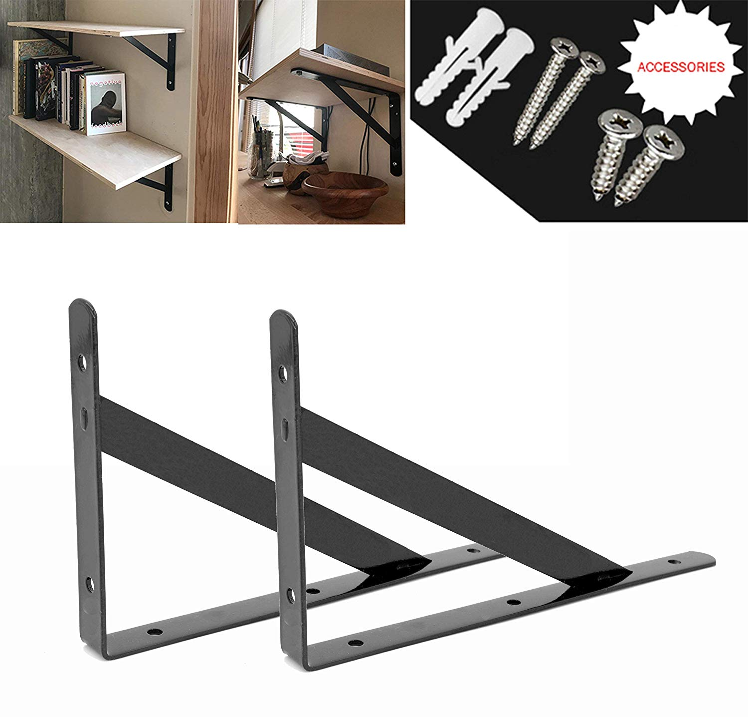 heavy duty shelf brackets floating shelves tripod corner triangle bracket brace support wall hanging black inch ovov home rustic wood shelving ideas round metal bookshelf holman
