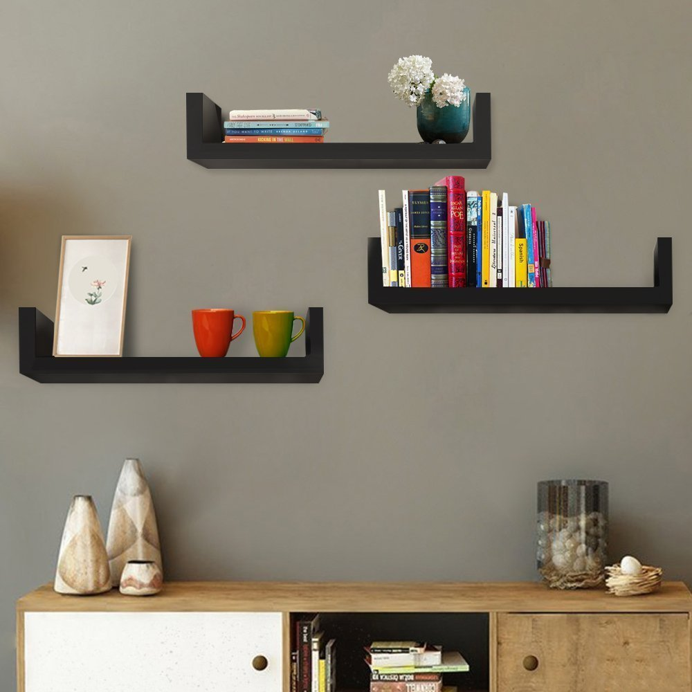 hindom shape floating wood wall shelves set display shelf storage diy black stock home kitchen prefab fireplace mantel vertical mounted hat rack modern shelving ideas narrow desk