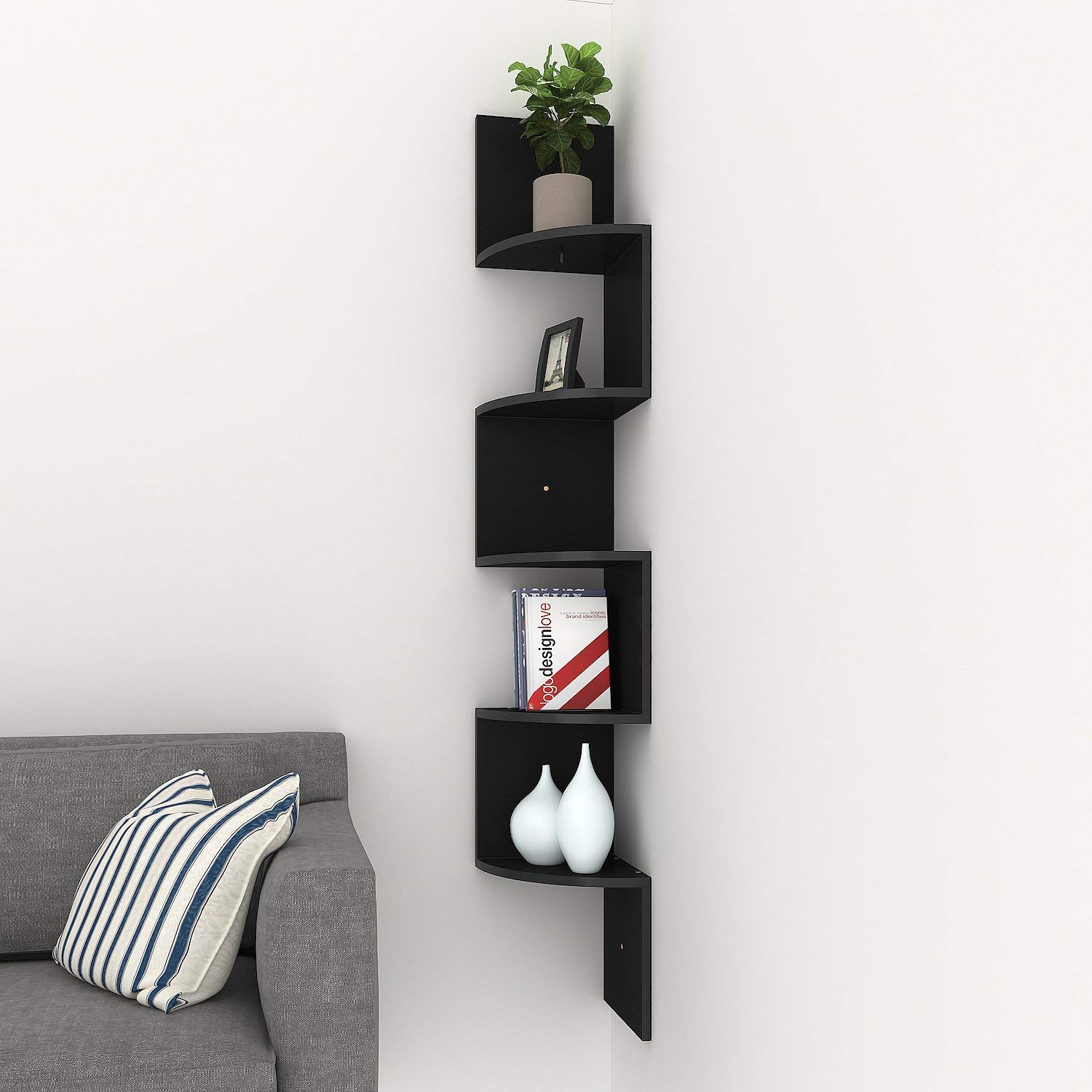homdox corner shelf tier shelves zig zag wall floating office design mount for living room bedroom bathroom open kitchen holders echogear finder showpiece affordable closet