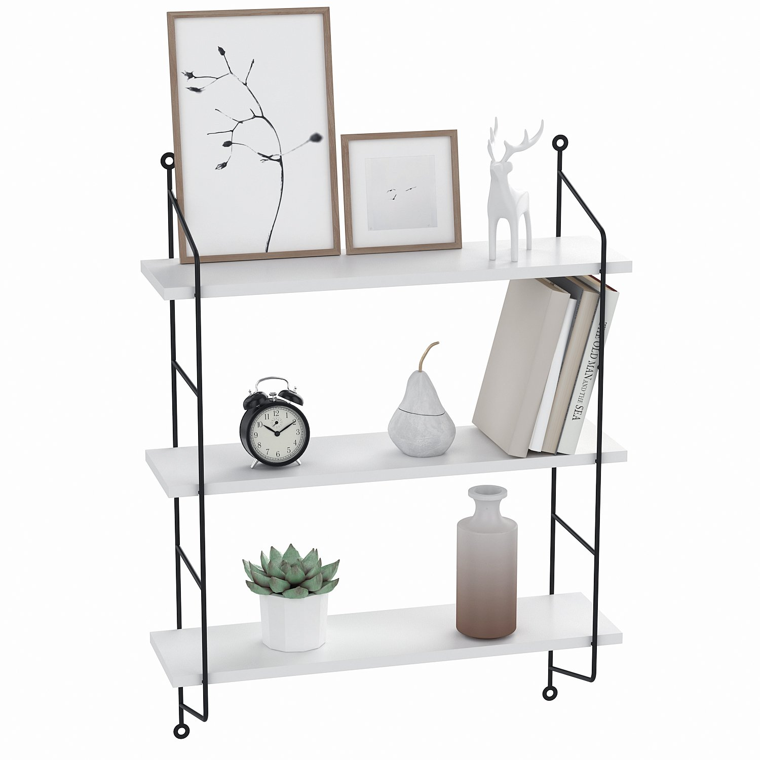 homdox industrial floating shelves wall mounted metal white shelf frame urban chic display tier home kitchen ikea sizes hooks for hanging heavy items shower matt thin computer