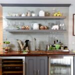 home bar with open floating shelves kitchen over ikea corner storage unit cabinets for pots and pans oak box cube display distressed wood white island bench diy storing shoes 150x150