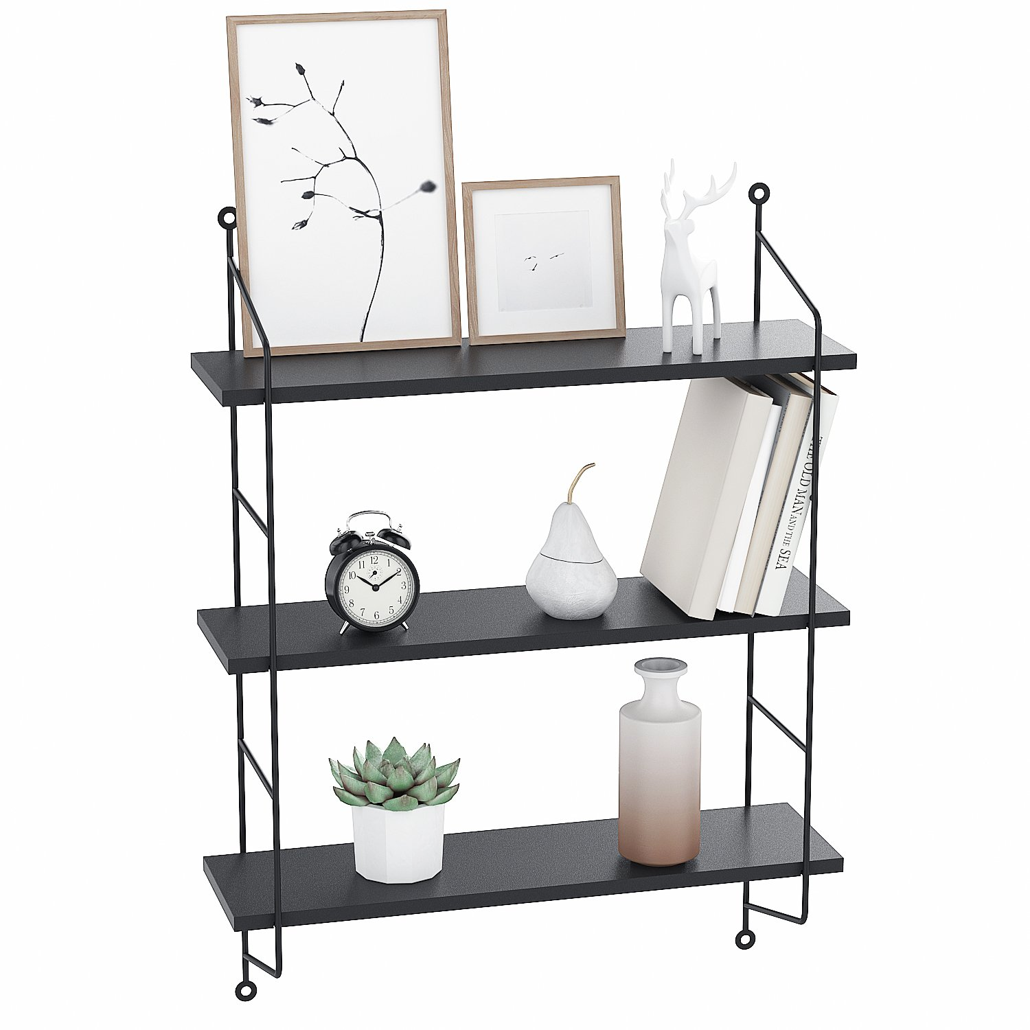 homevol industrial floating shelves wall mounted metal frame urban chic display shelf tier black home kitchen closet shelving bunnings brackets ikea coat storage pins canadian