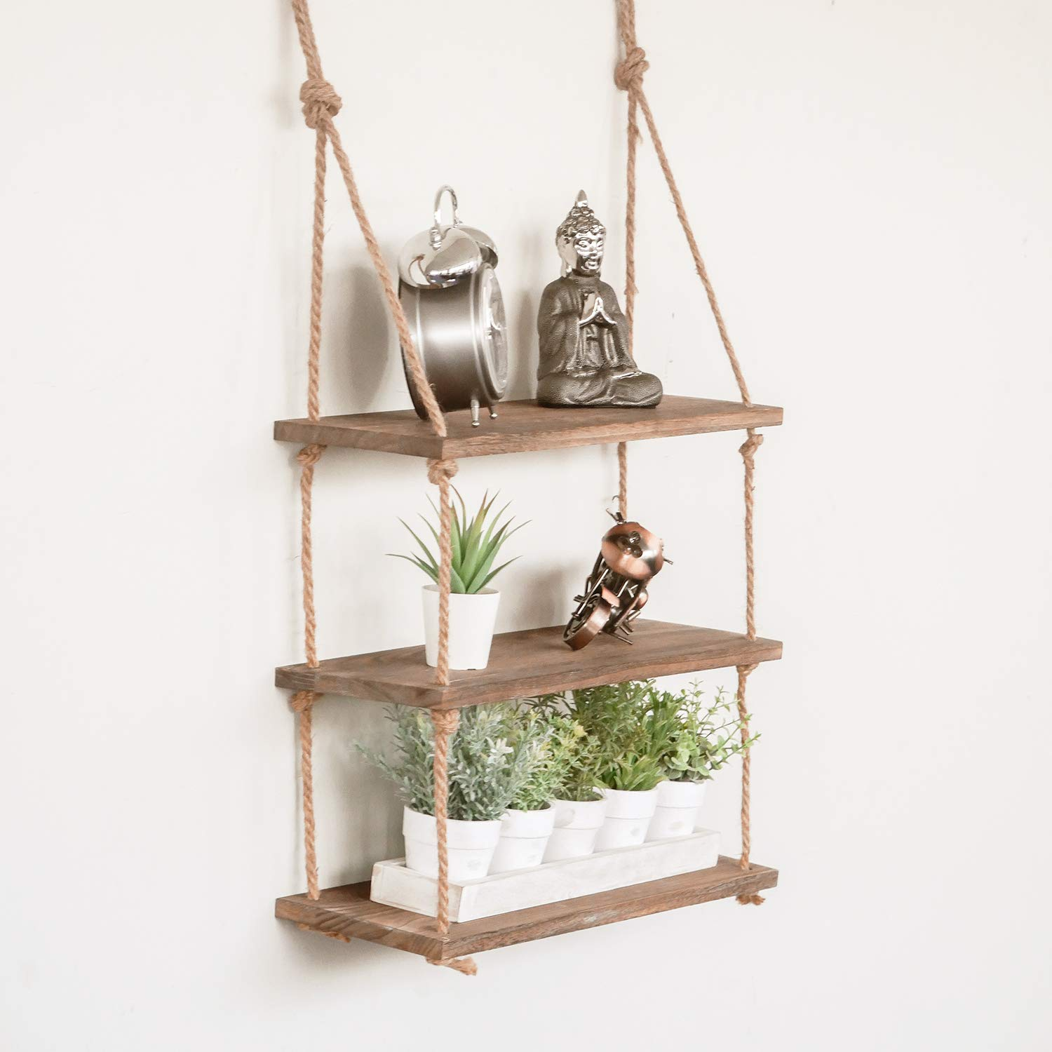 homezone tier vintage shabby chic shelving with rope shelf rustic home bargains floating shelves multiple tiered wall hanging storage organisation can you hang command strips