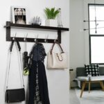 homfa bamboo entryway wall shelf hanging coat rack with floating mounted hook dual metal hooks for hallway bathroom living room bedroom dvd kmart chunky rustic corner bookshelf 150x150