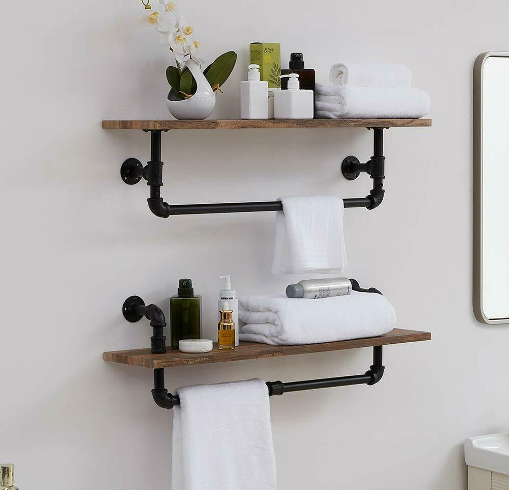 homissue industrial pipe wall shelving with tower bar rustic floating shelves details about shel bathroom ladder shelf target wooden hangers retro ikea besta kitchen glass modern