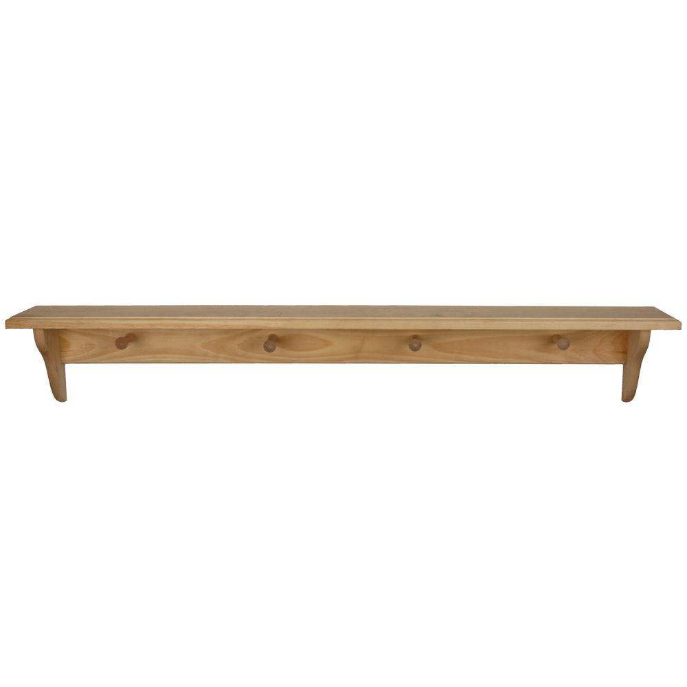 houseworks unfinished wood decor shelf with pegs decorative shelving accessories pine floating kits small kitchen wall storage old mantle hanging shelves bathroom cupboard