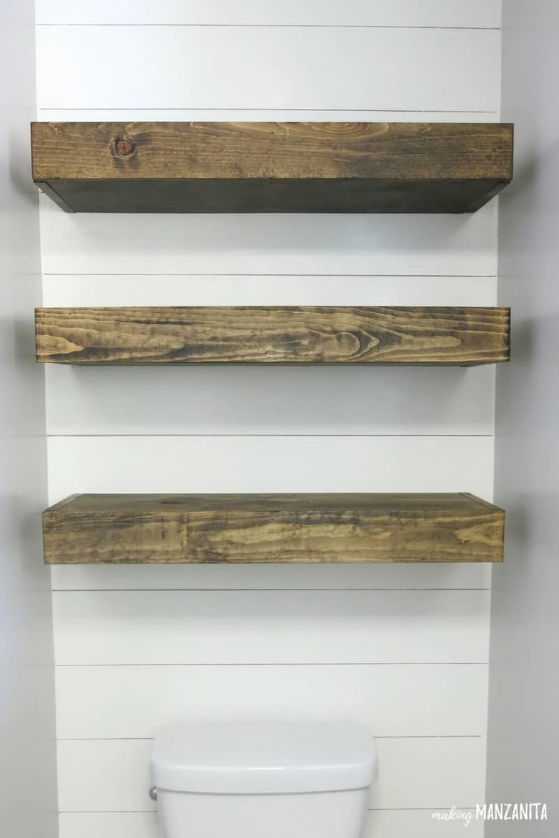 how build bathroom floating shelves for extra storage diy three dark wood stained installed faux shiplap wall above toilet kids shoe rack white shelf decor hot rollers canadian