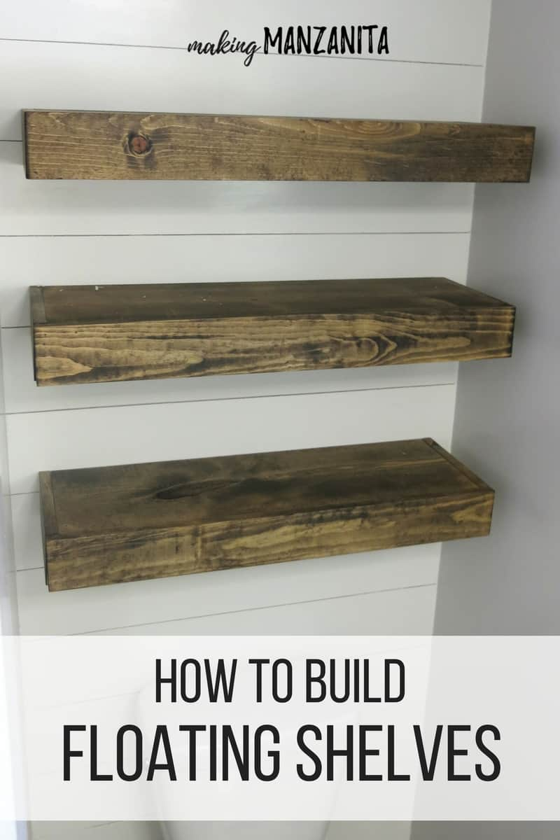 how build bathroom floating shelves for extra storage wood three shiplap wall with text over lay that says component mount closet system design ornamental brackets metal study