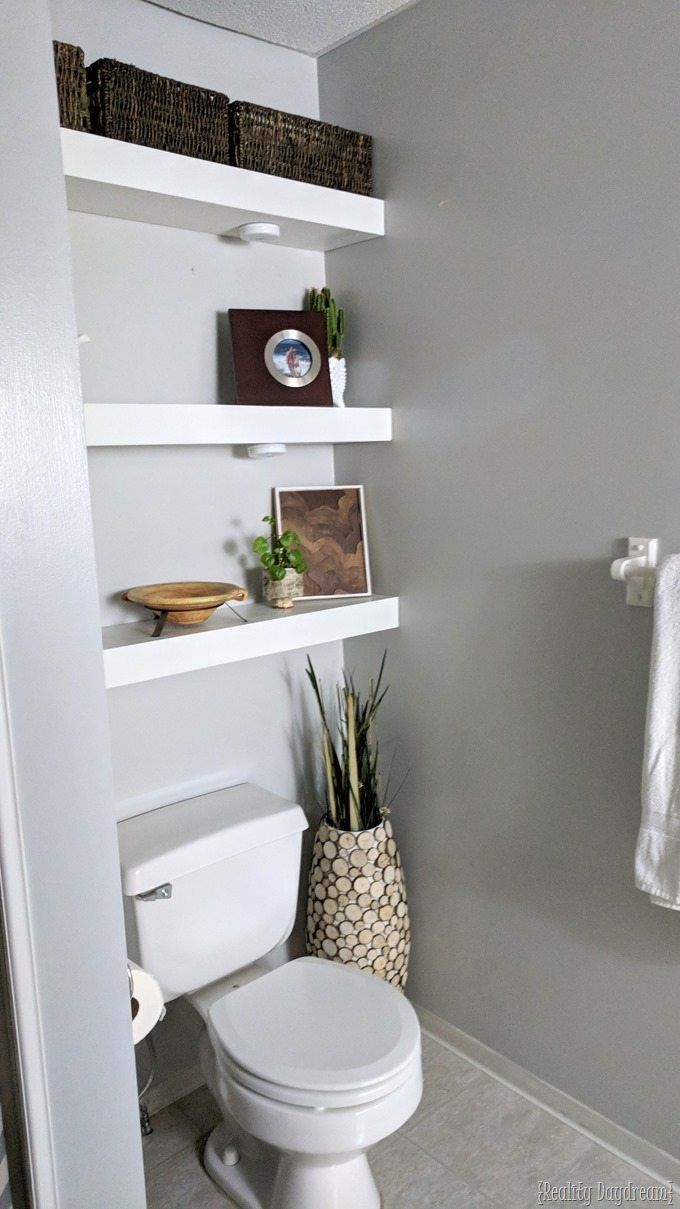 how build diy floating shelves bathroom shelf over toilet and install them above the reality daydream shelving used kallax rustic fireplace mantel inch with hooks cool shoe racks