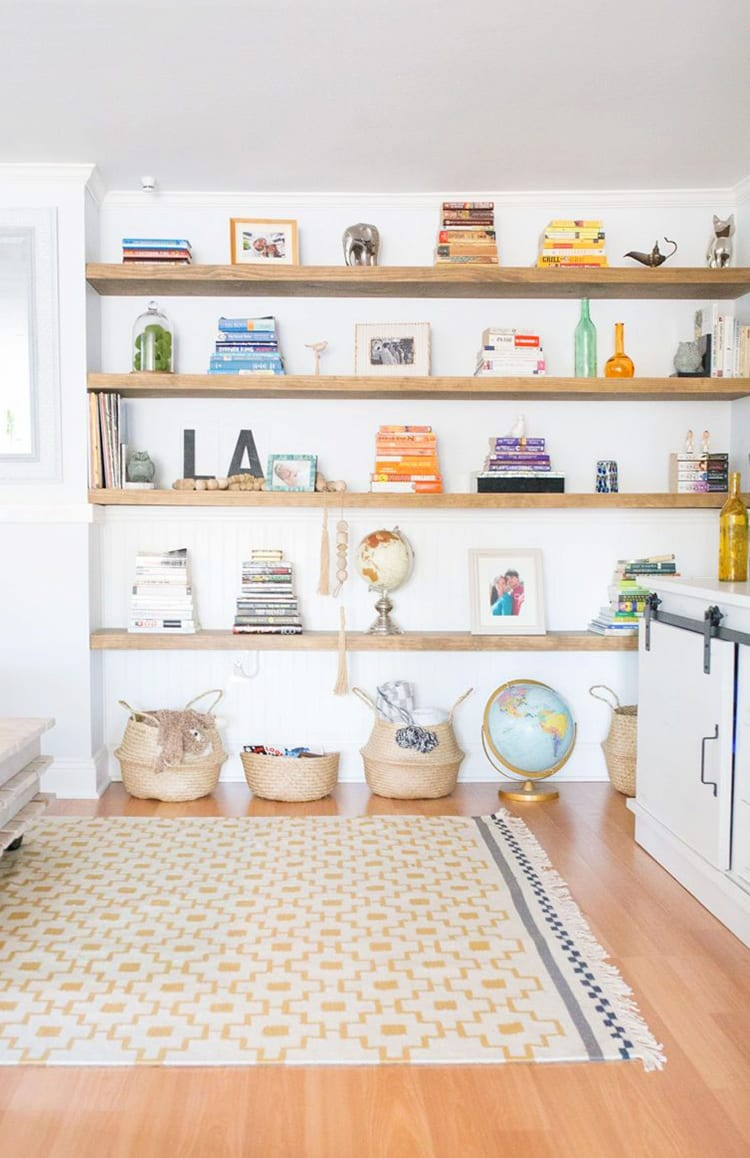 how build floating shelves for uneven walls shrimp salad circus white books wall wooden with and knick knacks them baskets small hanging bookshelf gloss shelf single unit home