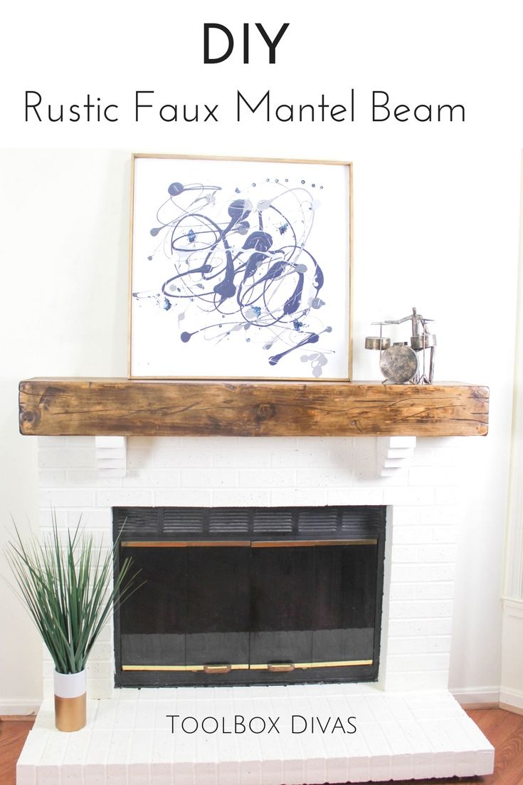 how build rustic faux beam mantel toolbox divas blog diy floating fireplace shelf wood shelves style this farmhouse decor pegboard pottery barn kids bridge wall with lights black