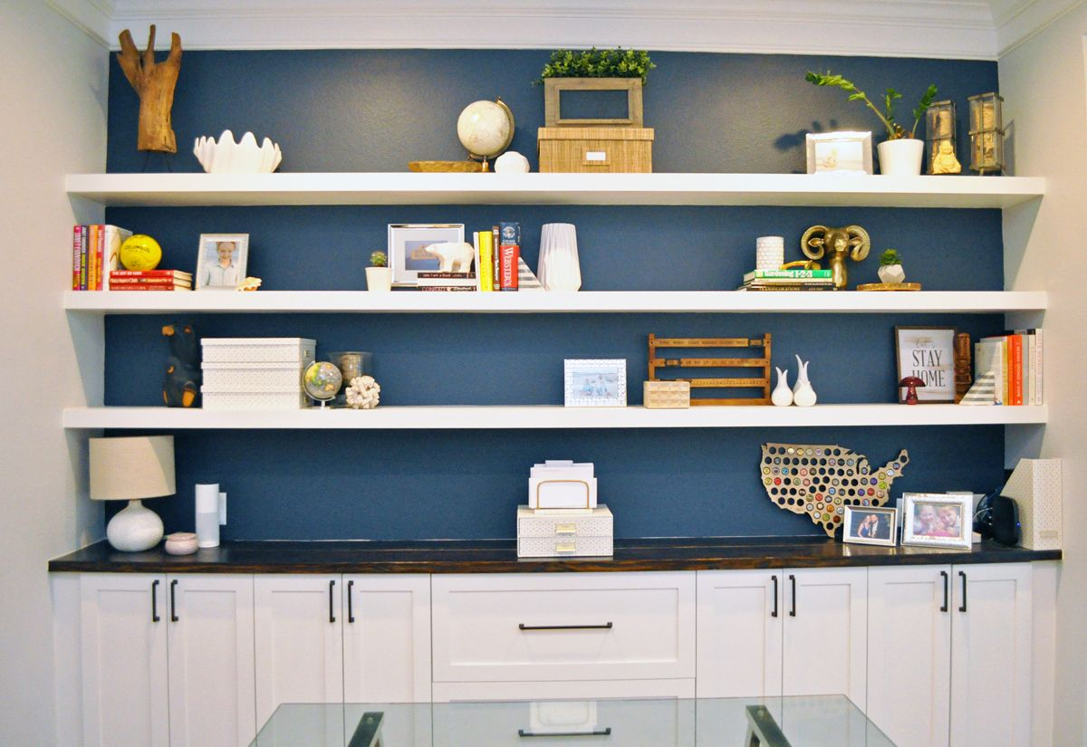 how built wall floating shelves myself for diy shelf mitre home office formal living room conversion white navy wickes board wood dvd player drawers decorative cubes ikea shelving