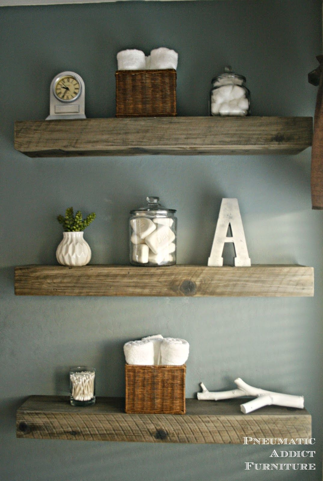 how create weathered barnwood look with this inexpensive gray floating shelf faux for less substitute glass shelves gold brackets inch white pallet wood corner cherry wall kitchen