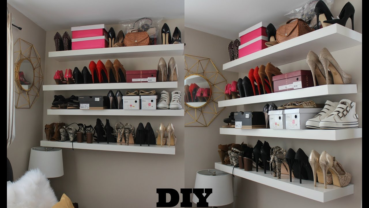 how diy super easy floating shelves for shoes and bags wall girlpower kijaro chair hidden gun cabinet rustic wrought iron shelf brackets hall tree storage bench cherry shoe corner
