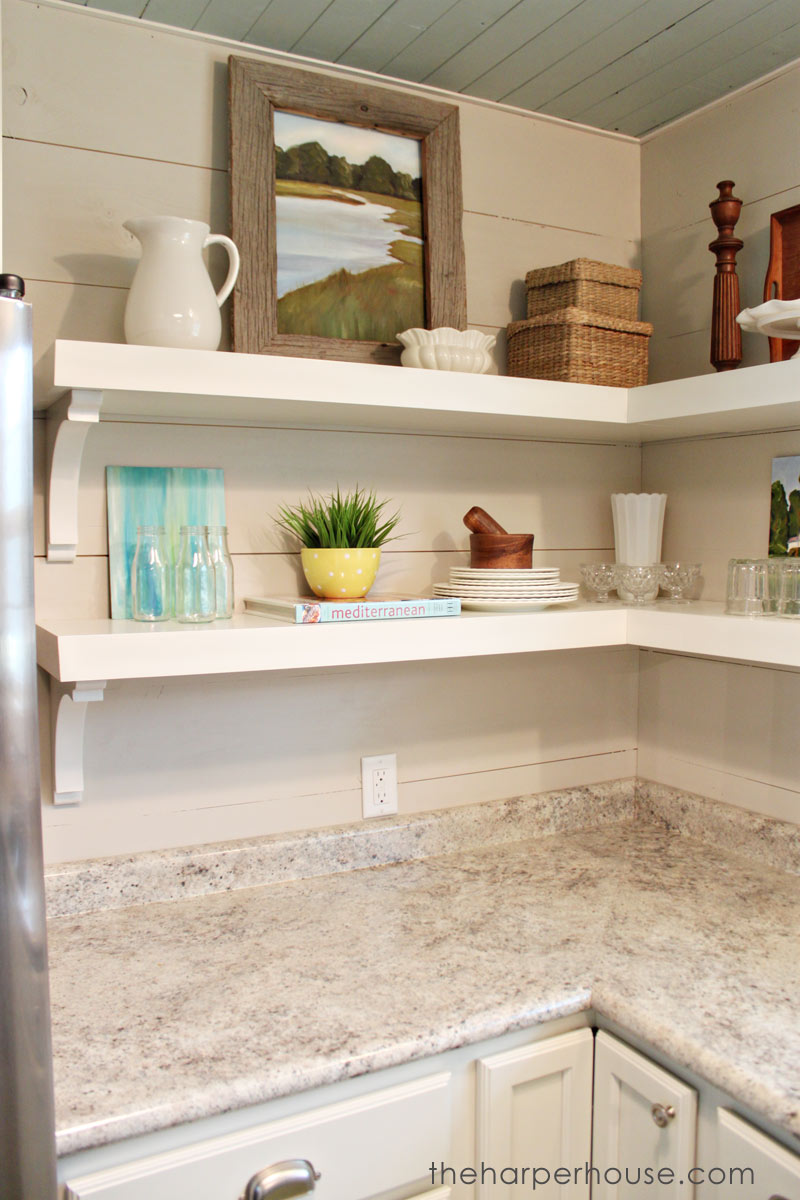 how fixer upper style your home open shelving the hazel kitchen shelves floating diy using brackets harper house garage organization systems avocado wood wall mounted plans small