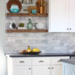 how install floating kitchen shelves over tile backsplash paintedkitchencabinets shelf brackets dvd player storage hacks oak mantel triangle corner shower tub command wall hanging 150x150