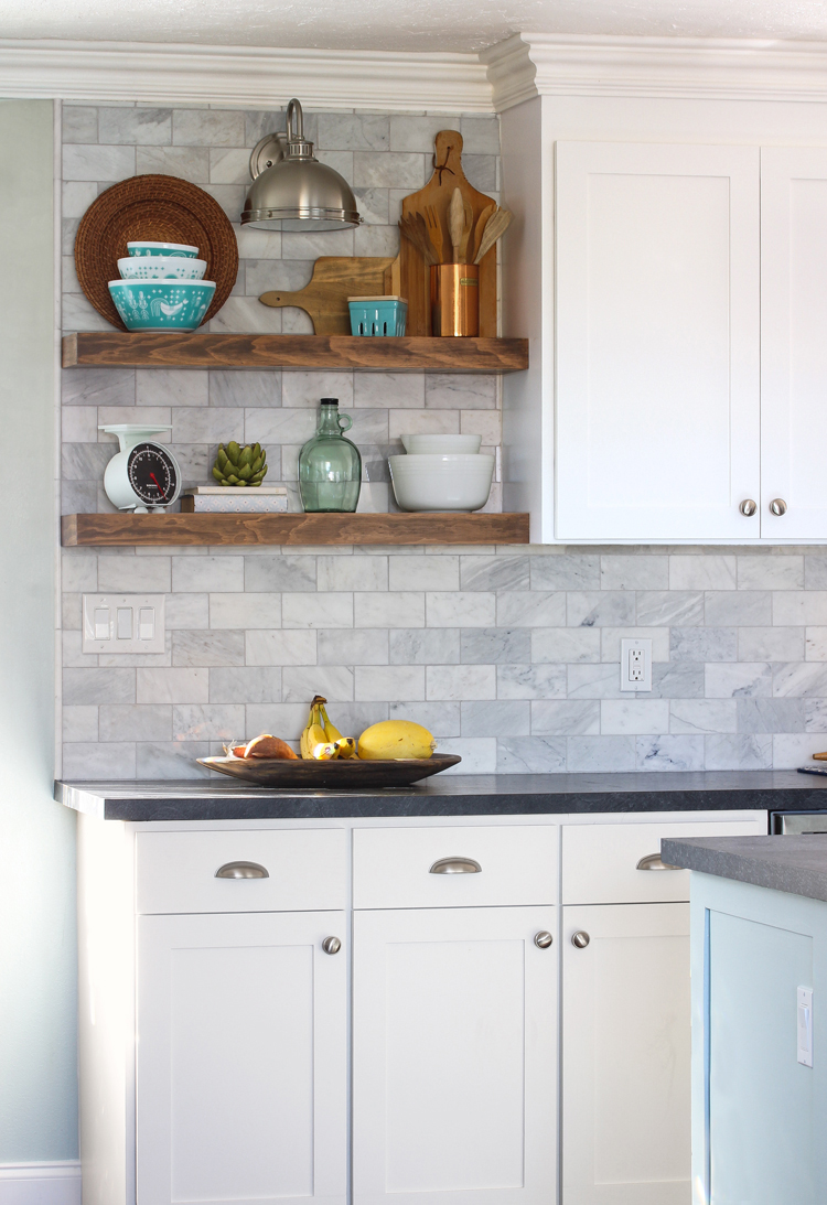 how install floating kitchen shelves over tile backsplash paintedkitchencabinets shelf brackets dvd player storage hacks oak mantel triangle corner shower tub command wall hanging