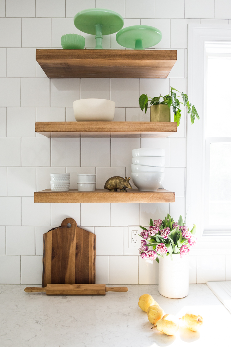 how make diy floating shelves live free creative green cabinets small kitchen reveal for storage was tricky find exactly what looking the stain and length that wanted did any self