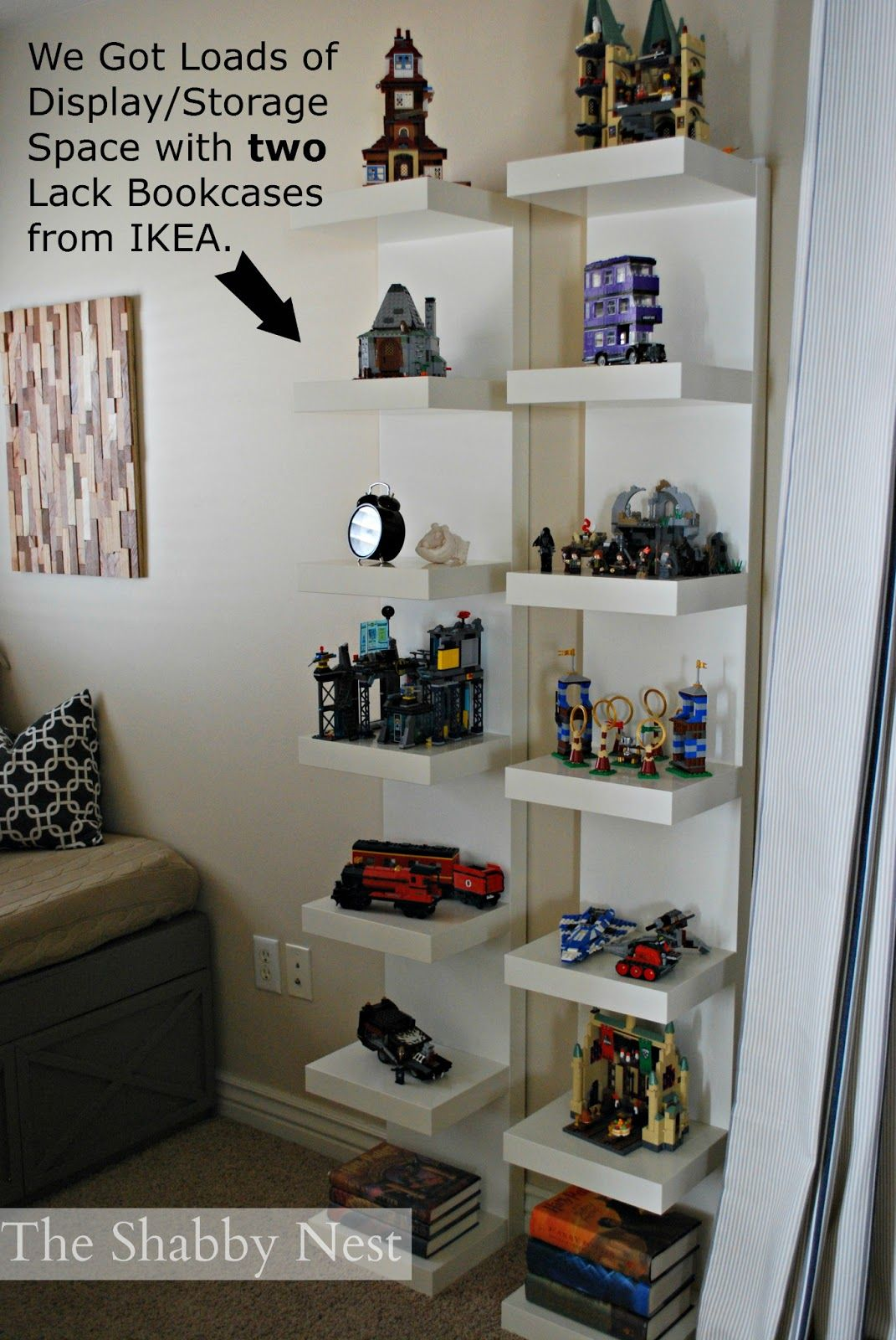 ikea boys lego bedroom ideas used lack bookcases display boy floating shelves for one collection legos and rustic wood mantel pieces sleeper mantle shelf dishes open drawer
