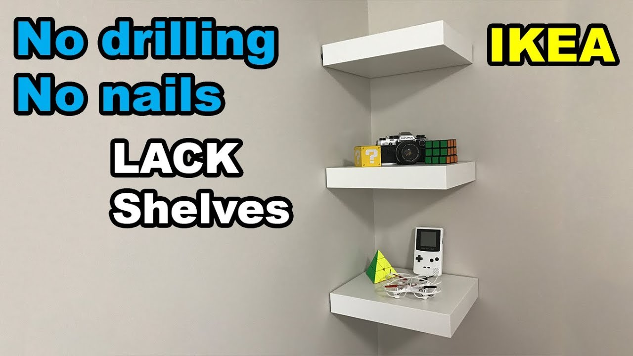 ikea lack shelf drilling nails wall floating shelves without screws real wood wooden expandable coat rack glass installation argos corner shelving unit reclaimed bedroom set inch