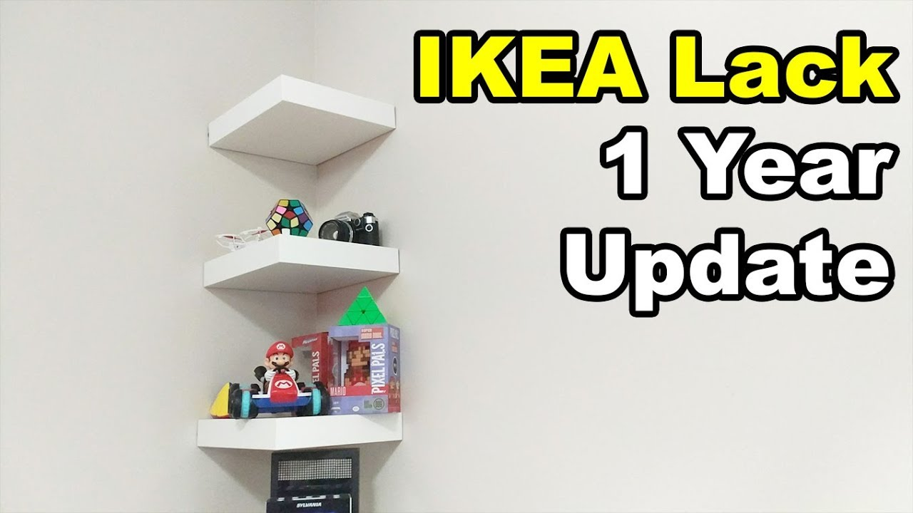 ikea lack shelf drilling nails wall year update floating shelves using command strips target cubby corner board bookcases for living room designs mounted unit sky box white ideas