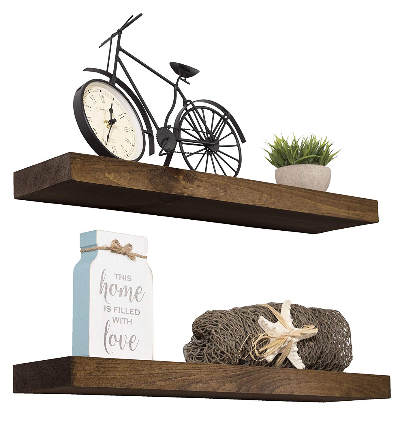 imperative decor floating shelves rustic wood wall shelf dark usa handmade set walnut home kitchen board over bath storage rack wooden island wheels video shelving build your own