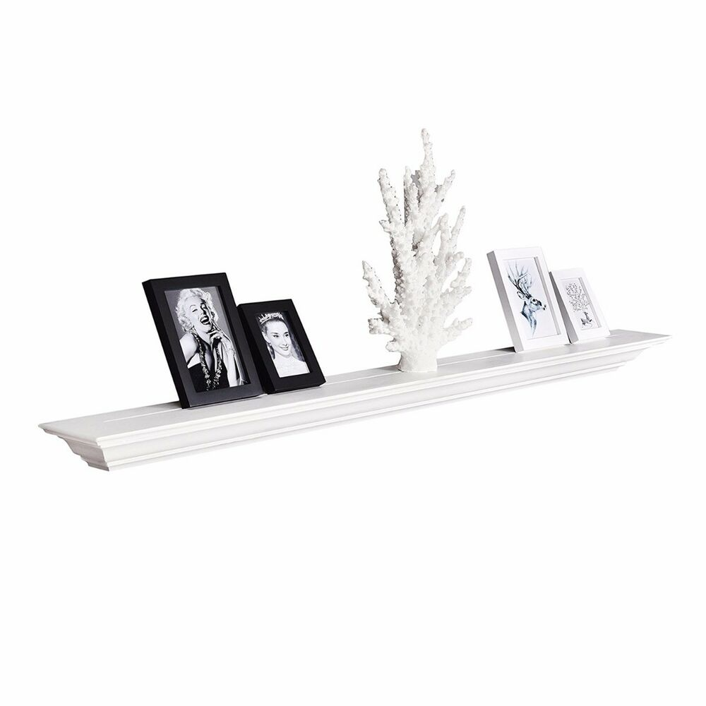 Inch Crown Molding Floating Wall Shelf Painted White