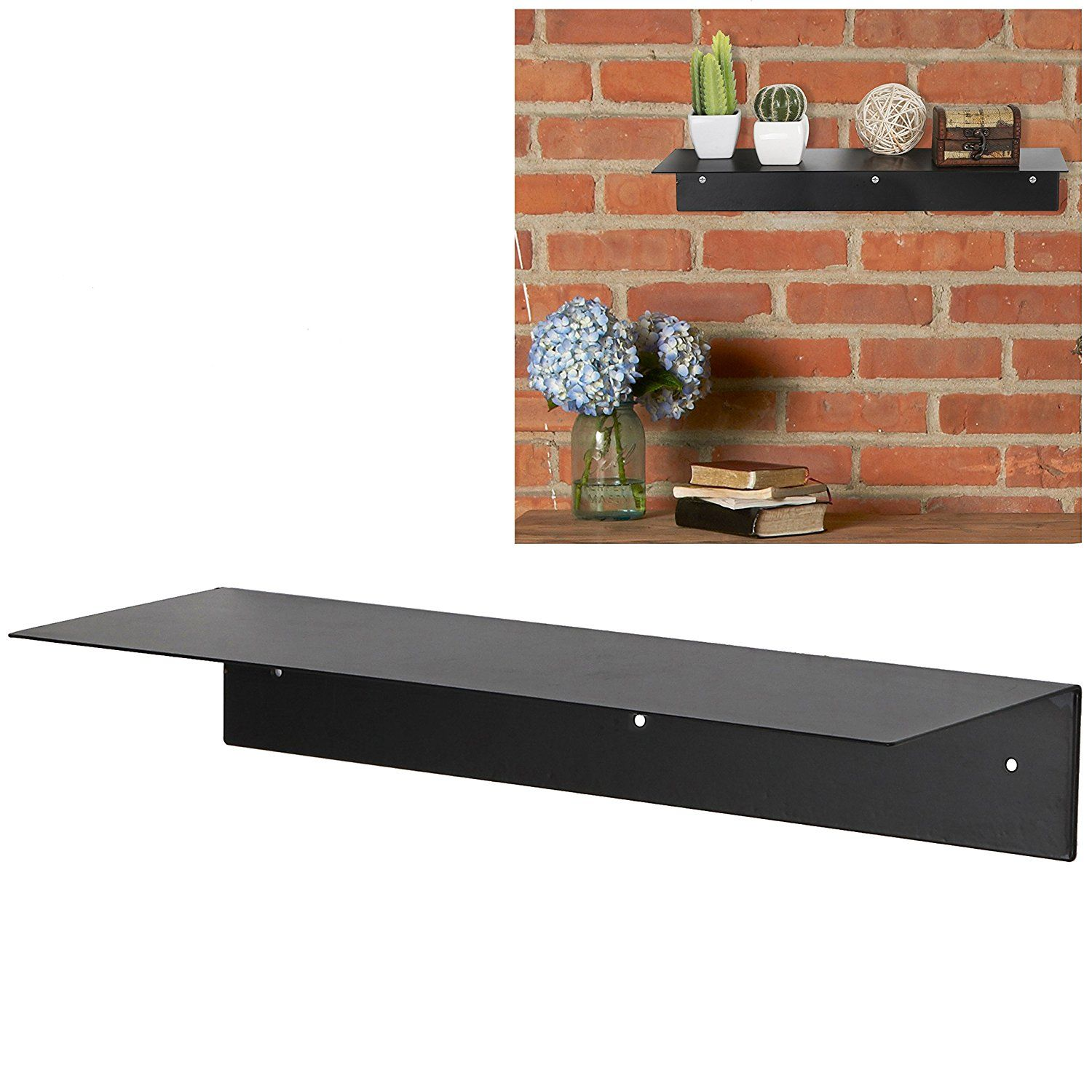 inch modern black metal floating shelf wall mounted display stand hanging organizer rack mygift see this great shelves diy bookshelf box recessed bathroom heavy duty plastic