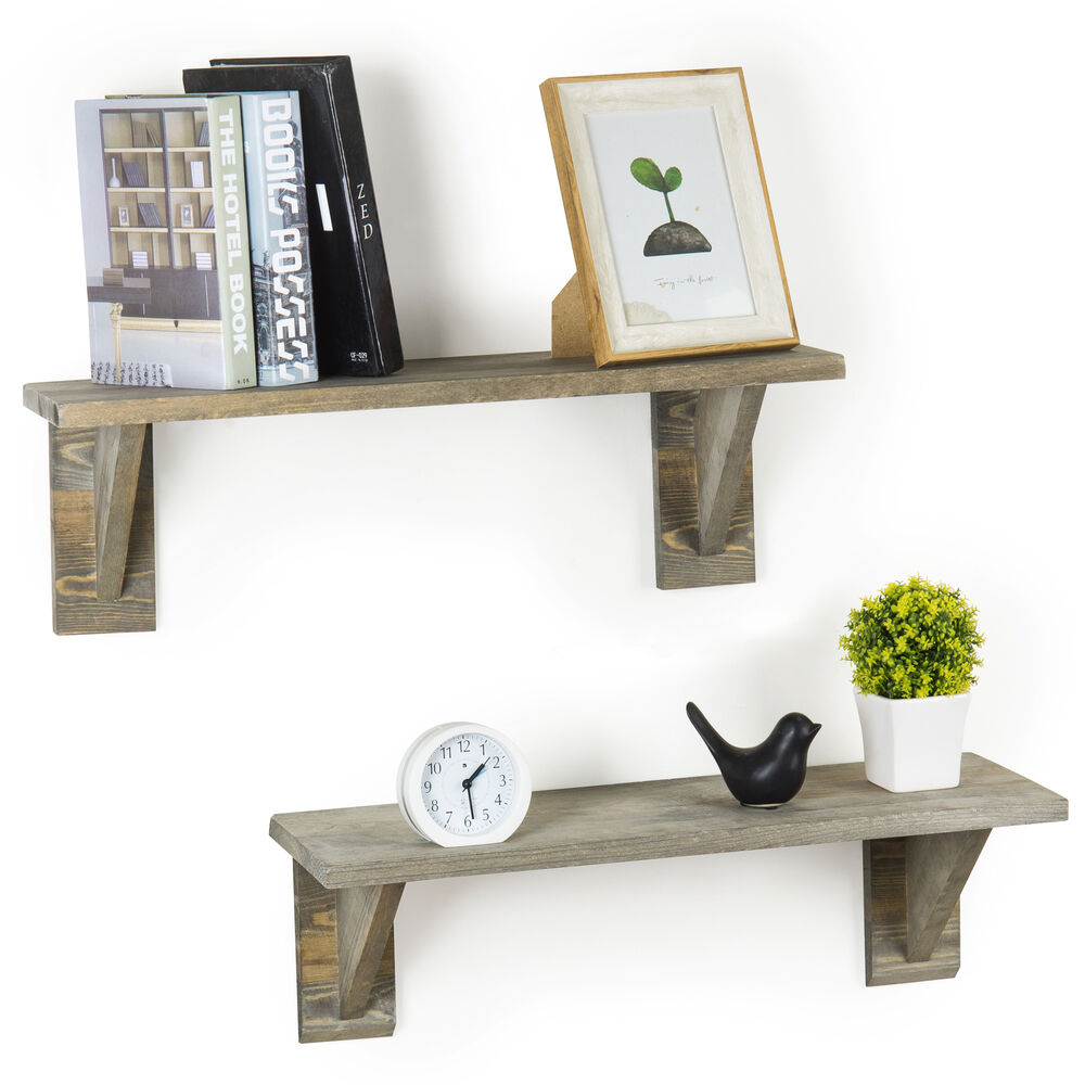 inch rustic barnwood gray wooden floating wall shelves set details about romak shelving bunnings slim shelf hafele brackets wide kitchen with movable island red and black living