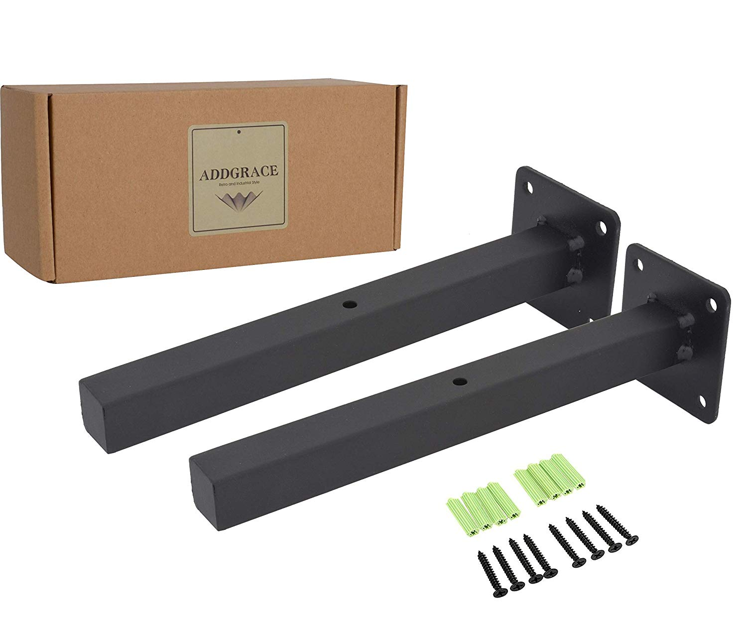industrial addgrace black floating shelf brackets retro wall mounted supports includes screws anchors square inch home inexpensive desks for office dark wood living room furniture