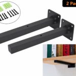 industrial black floating shelf brackets retro wall mount bracket mounted supports includes screws anchors square inch addgrace home media bench furniture vintage metal large shoe 150x150
