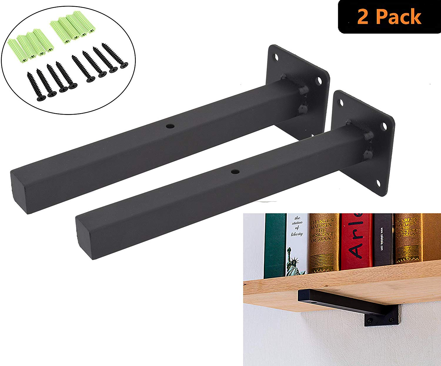 industrial black floating shelf brackets retro wall mounted supports includes screws anchors square inch addgrace home decorative hooks for coats without nails glass over bathroom