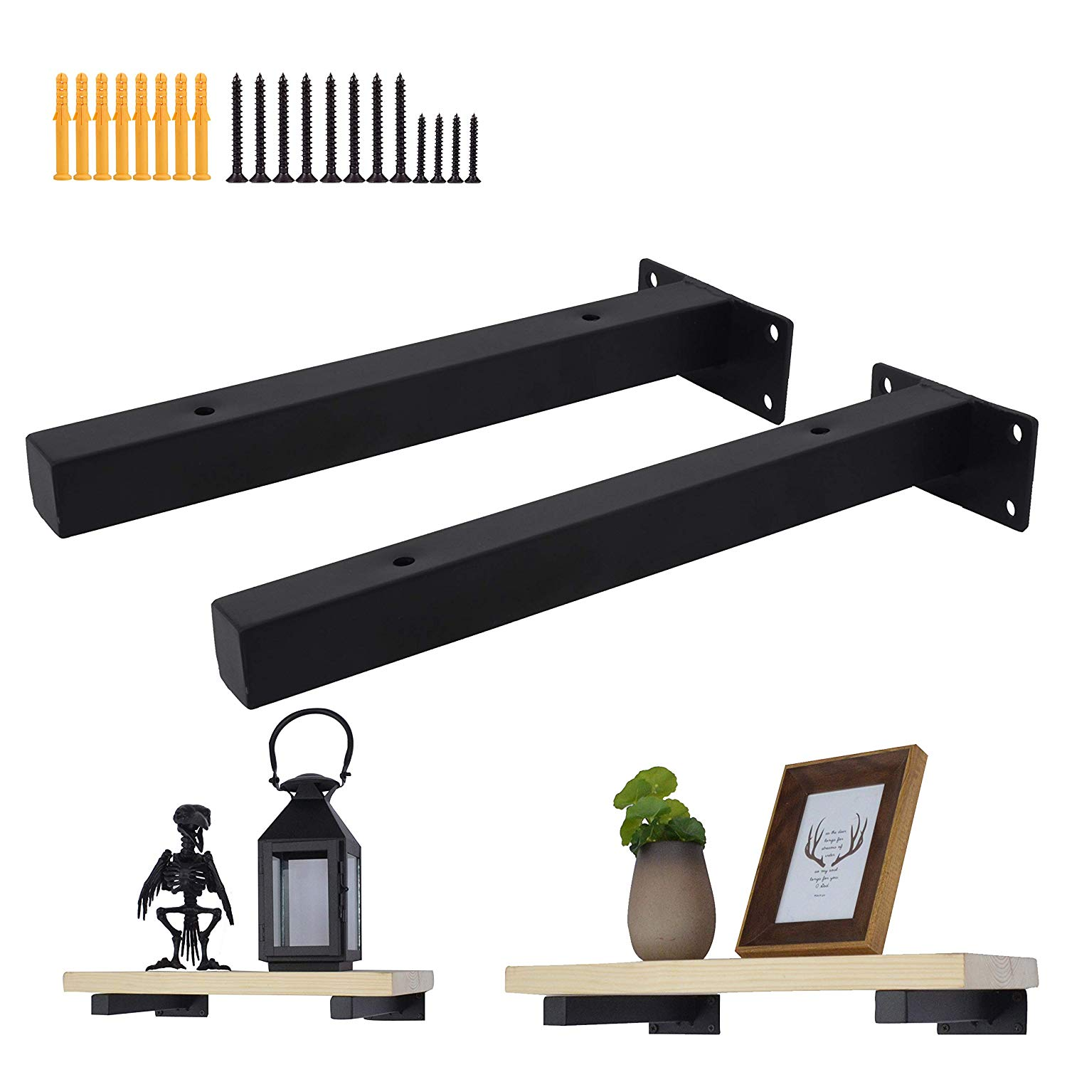 industrial black thicken floating shelf brackets retro zll wall mount bracket mounted supports includes screws anchors inch home metal coat hooks rustic brunschwig and fils