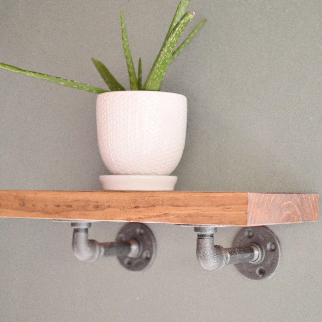 industrial floating shelf pipe brackets shelves delirious design vessel sink vanity base basic wall mounted coat hanger glass over bathroom concealed fixings wood brick without